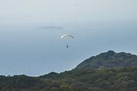 富津岬を飛ぶパラグライダー