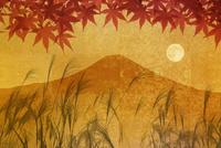 金屏風の富士山と紅葉と満月