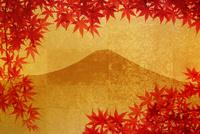 金屏風の富士山と紅葉 10131021528| 写真素材・ストックフォト・画像・イラスト素材|アマナイメージズ