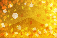 金屏風の富士山と紅葉と満月 10131021530| 写真素材・ストックフォト・画像・イラスト素材|アマナイメージズ