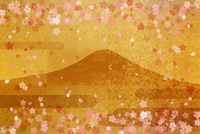 金屏風の富士山とサクラ