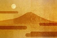 金屏風の富士山と満月