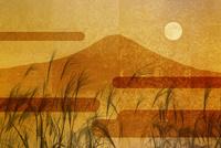 金屏風の富士山とススキと満月 10131021538| 写真素材・ストックフォト・画像・イラスト素材|アマナイメージズ