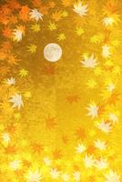 金屏風のモミジと満月 10131021545| 写真素材・ストックフォト・画像・イラスト素材|アマナイメージズ