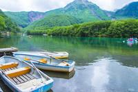 大正池に浮かぶボート