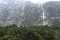 フィヨルドを流れる雨による滝
