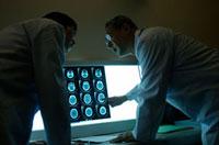 レントゲン写真を確認する日本人男性医師