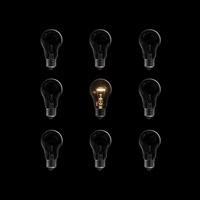 整列した電球の中に1つだけ発熱して光る電球