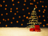 イルミネーション背景の雪の上のツリーとプレゼントボックス
