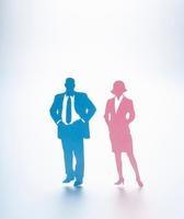 紙で作られたビジネスマンとビジネスウーマン