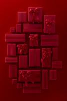 上から見た沢山の赤いクリスマスのプレゼントボックス