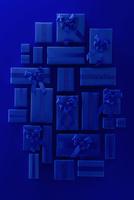 上から見た沢山の青いクリスマスのプレゼントボックス