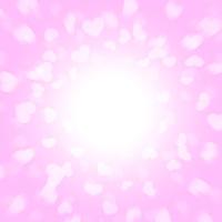 ピンクの背景からヒラヒラと飛び出る沢山のハート