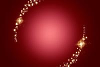 赤い背景に丸くキラキラと輝く星やハート