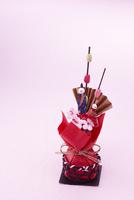 桜と扇子とおひな様の人形