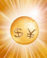 円とドルの通貨記号と地球