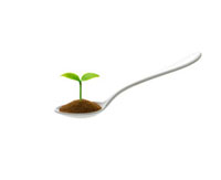 スプーンと新芽 10137001987| 写真素材・ストックフォト・画像・イラスト素材|アマナイメージズ