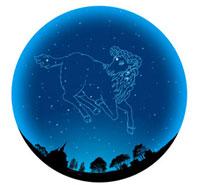 田園イメージの球体におひつじ座(12星座)
