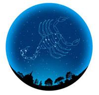 田園イメージの球体にさそり座(12星座)