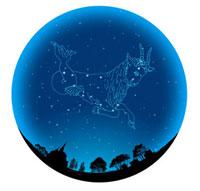 田園イメージの球体にやぎ座(12星座)