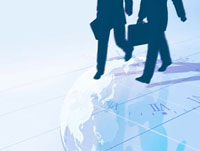 二人のビジネスマンのシルエットとワールドタイム 10143000074| 写真素材・ストックフォト・画像・イラスト素材|アマナイメージズ