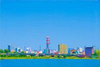 絵画調で描かれた湖沿いの街と青空