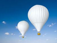 大空を漂う二機の白い熱気球