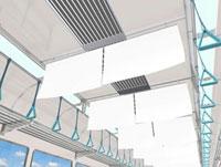電車内の中吊り広告風の白い看板