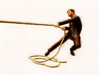 綱を引く絵画調ビジネスマン