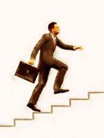 階段を上がる絵画調ビジネスマン