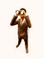 双眼鏡で覗く絵画調ビジネスマン 10143001718| 写真素材・ストックフォト・画像・イラスト素材|アマナイメージズ