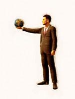地球儀を持つ絵画調ビジネスマン