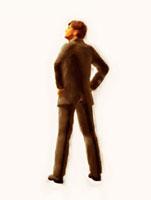 腰に手をやって立つ絵画調ビジネスマン 10143001727| 写真素材・ストックフォト・画像・イラスト素材|アマナイメージズ