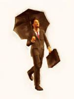 傘を差して歩く絵画調ビジネスマン