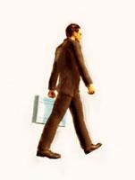 鞄を持って歩く絵画調ビジネスマン 10143001731| 写真素材・ストックフォト・画像・イラスト素材|アマナイメージズ