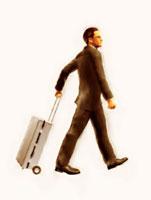 旅行鞄を引いて歩く絵画調ビジネスマン 10143001732| 写真素材・ストックフォト・画像・イラスト素材|アマナイメージズ