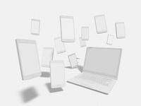 ノートPCとスマホのモノクロイメージ