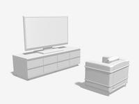 薄型テレビ視聴のモノクロイメージ