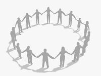 手をとり輪を作るシルエットイメージ 10143002441| 写真素材・ストックフォト・画像・イラスト素材|アマナイメージズ