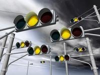 黄色に点灯する信号機