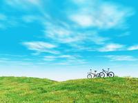 緑の丘と2台の自転車