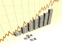 折れ線と1万円の札束を積み上げたグラフ