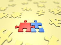 青と赤のみ組むジグソーパズル 10143004233| 写真素材・ストックフォト・画像・イラスト素材|アマナイメージズ