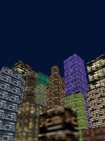 夜景のビル群を見上げる