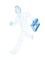 走るワイヤーフレームのビジネスマン