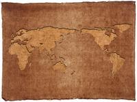 世界地図にくり抜かれた和紙背景