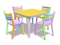 カラフルな椅子とテーブル