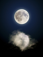 満月と水面の反射(合成)