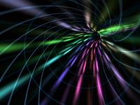 黒背景の光の放射イメージ