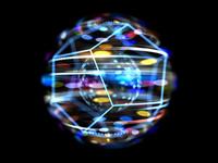 黒背景の多角形と光球体イメージ